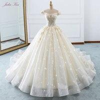 Элегантные блестящие Voile Scalloped аппликации с открытыми плечами Бисер Crystale Новое поступление шнуровке бальное платье принцессы Свадебное пла