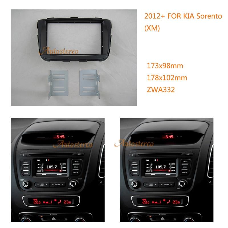 ZWNAV 11-332 Car Radio Fascia panel frame for KIA Sorento (XM) 2012+ Double Din Stereo Dash CD Trim Installation Kit car radio dvd cd fascia panel for faw oley 2012 stereo dash facia trim surround cd installation kit