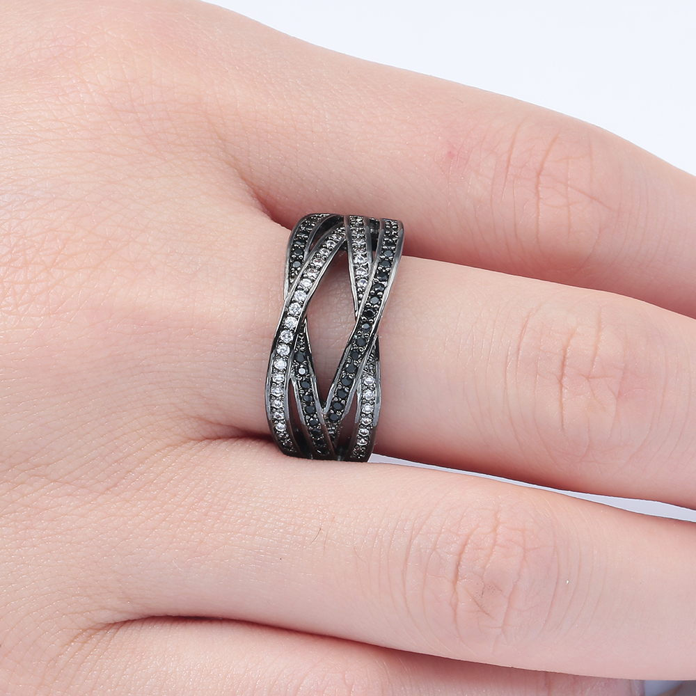 vintage black gun promise Rings white black zircon new fashion ...