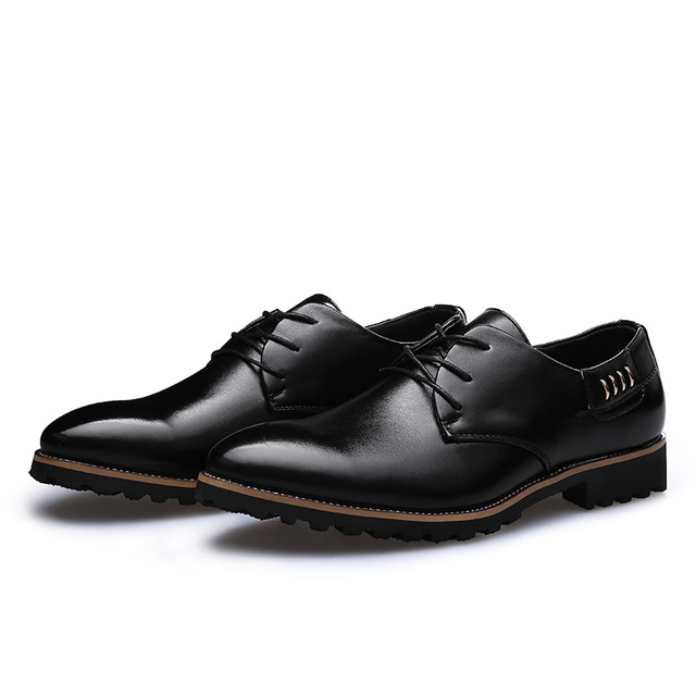 YIQITAZER 2017 Autumn Casual Geniune Formal Leather Shoes Men,Black Brown Fashion Dress Flats Mens Oxfords Shoes Size 6.5-9.5