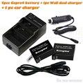 2 unids Kingma batería de polímero ahdbt401 AHDBT-401 AHDBT 401 + AC charger + Car charger Set para GoPro Go Pro Gopro4 héroe 4 H4