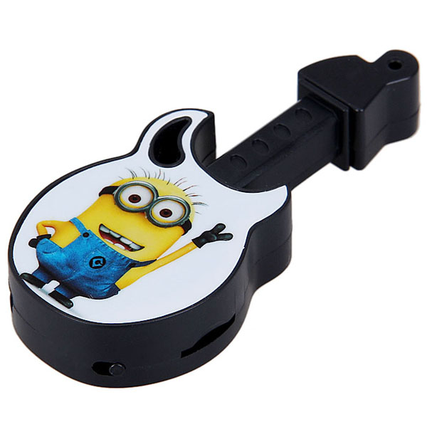 New Style Mp3 Mini Guitar Shaped MP3 Player The Minions Print With Earphone  And USB Cable