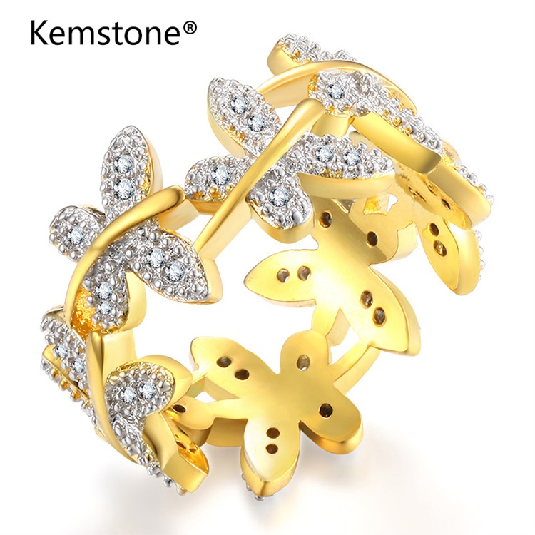 Emstone Fashion Elegant Flower Rings Composed of 10 Butterflies Paved Tiny CZ Stone Rings for Women Perfect Accessories Jewelry
