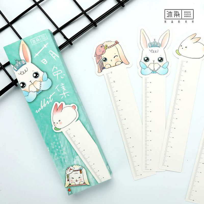 AB13 30pcs/pack Cute Kawaii Rabbit Decorative Paper Bookmark DIY Craft Creative Stationery Gift Film Bookmark Paper Ruler