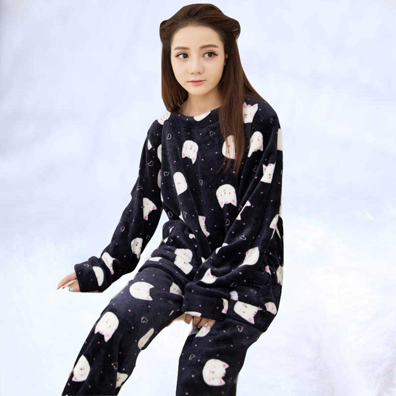 Autumn Winter Women Thicken   Pajamas     Set   cute printed Sleepwear Warm Nightgown for Women Warm Flannel   Pajamas     Set   Two-piece suit