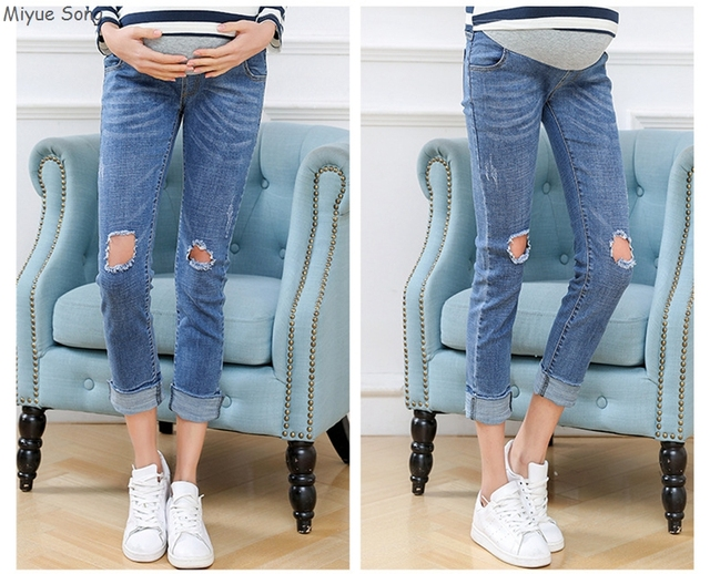 Maternity Jeans For Pregnant Women Pants Clothes Trousers Elastic Waist Belly Legging Pregnancy Clothing Overalls Ninth Pants