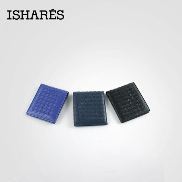 ISHARES High quality men short handmade weave genuine leather wallets male fashion sheep leather horizontal purse IS6003A