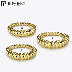 Image 4 - Enfashion Pure Form Twist Rings For Women Gifts Gold Color Brass Wave Men Ring Fashion Jewelry Bague Anillo Jewellery RF184005