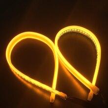 цена на 2x60cm Car Slim Flexible Headlight LED Strip Light Turn Signal DRL Running Light Yellow Daytime Running Lights 12V For BMW E60
