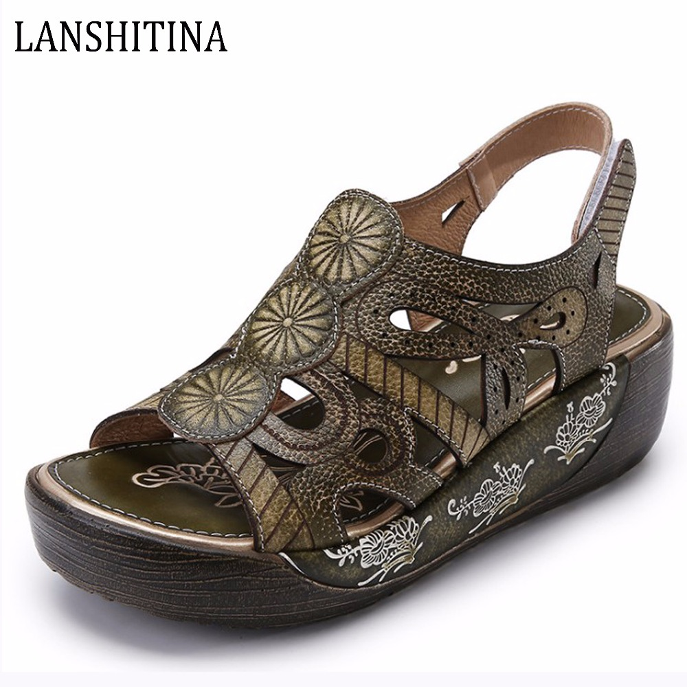 Genuine Leather Handmade Summer Shoes Women's Sandals With Wedges Hook&Loop Sandles Quality Zapatos Mujer High Heel Platform phyanic 2017 summer women sandals platform wedges sandals hook