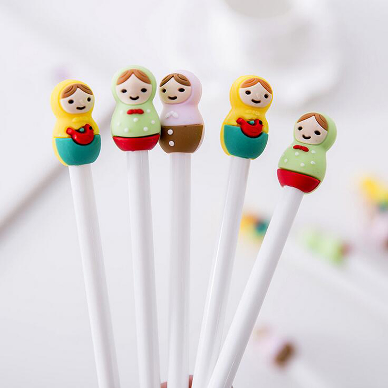 L27 3X Lovely Russian Girl Doll Silicone Head Gel Pen Writing Signing Pens School Office Supply Student Stationery Gift