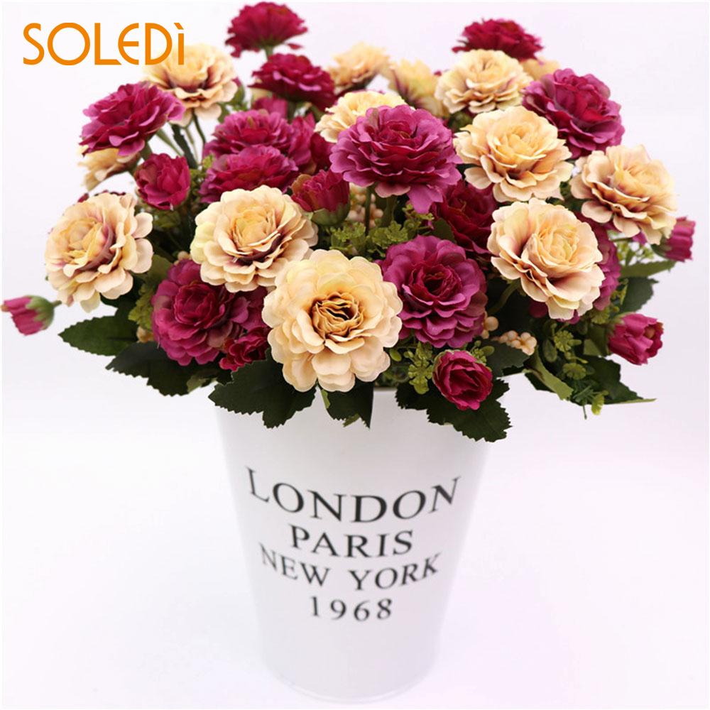 European Artificial Flowers 8 Heads Simulation Plant Peony Fake