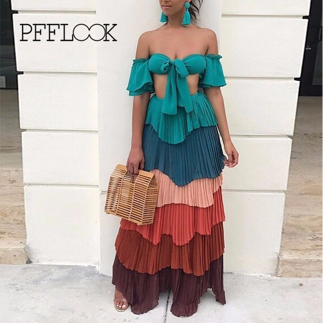 3022f2191e PFFLOOK Patchwork Long Beach Dress Plus Size Swimwear Women 2018 Cover Up  Swimsuit Sexy Strapless Beachwear