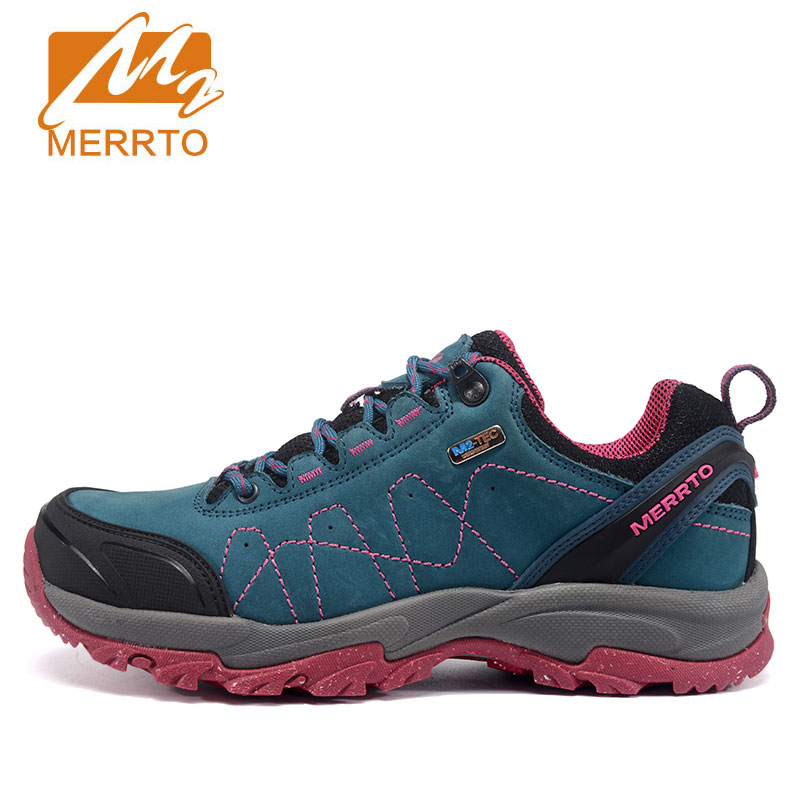 MERRTO women's Hiking Shoes Waterproof Genuine Leather anti-skid Sneaker trekking Outdoor Sport Camping Shoes zapatillas mujer merrto men s outdoor cowhide hiking shoe multi fundtion waterproof anti skid walking sneakers wear resistance sport camping shoe