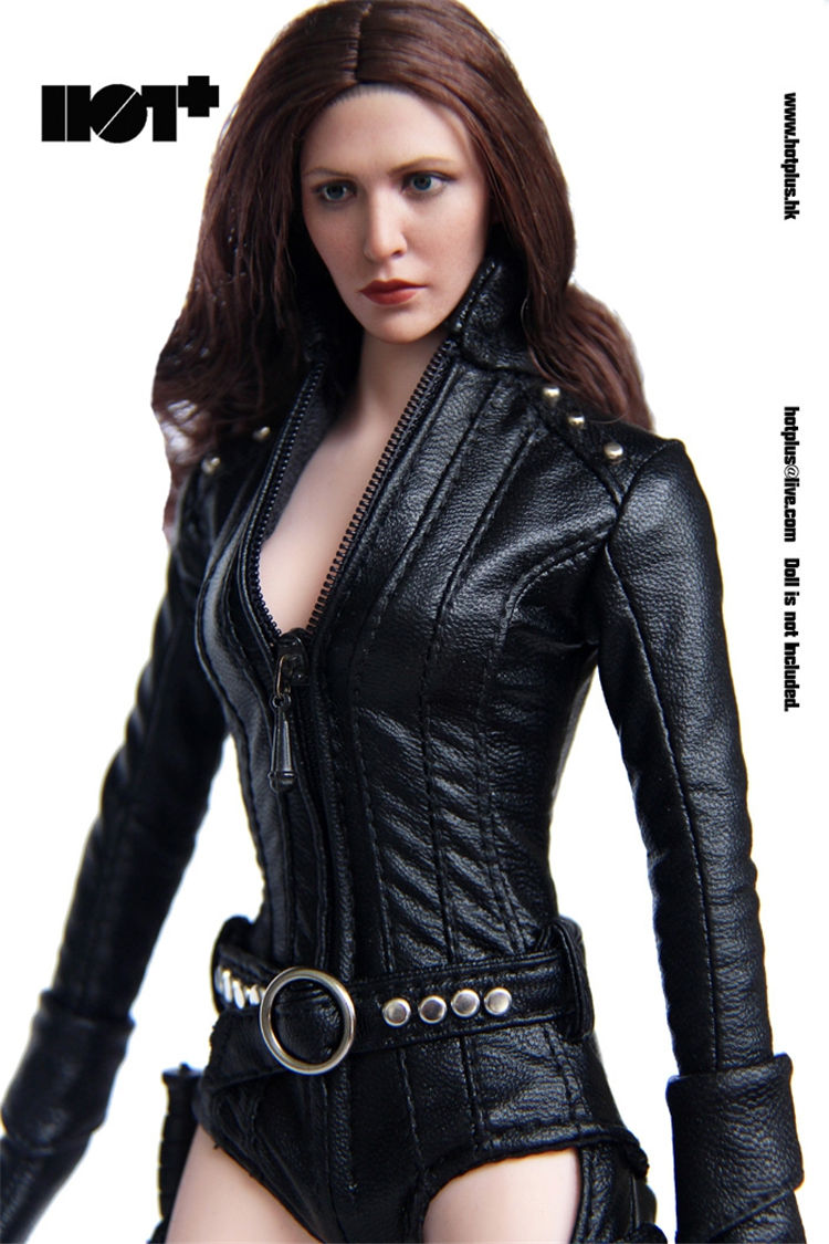 ФОТО HotPlus 1:6 Female Soldier Agent Black Leather Jacket Sets for 12