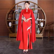 Chinese style women Sexy Evening Dresses Long sleeve Qipao Red Blue lady vestido Open Slit Modern Party Dresses oriental gown