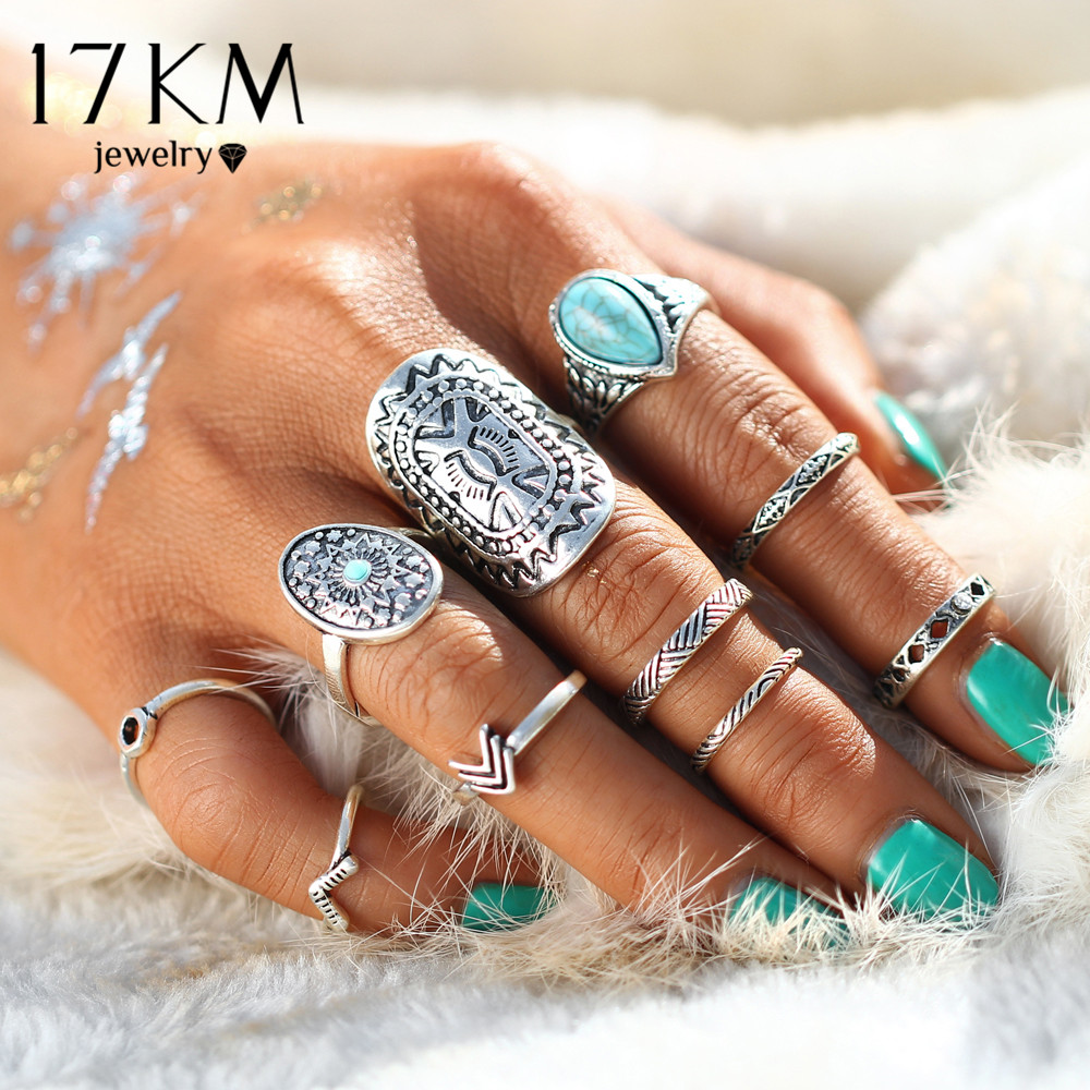 17KM Retro Pattern Mix Finger Midi Ring Sets Vintage Unicorn Steampunk Knuckle Ringe til Kvinder Man Fashion Boho Smykker