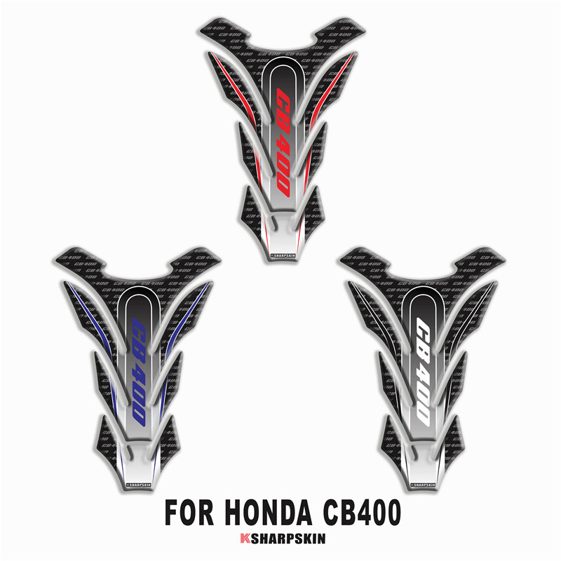 Motorcycle 3D Fuel Tank Pad Sticker Protective Decorative Decal FOR HONDA CB400 Fishbone Protective Decals