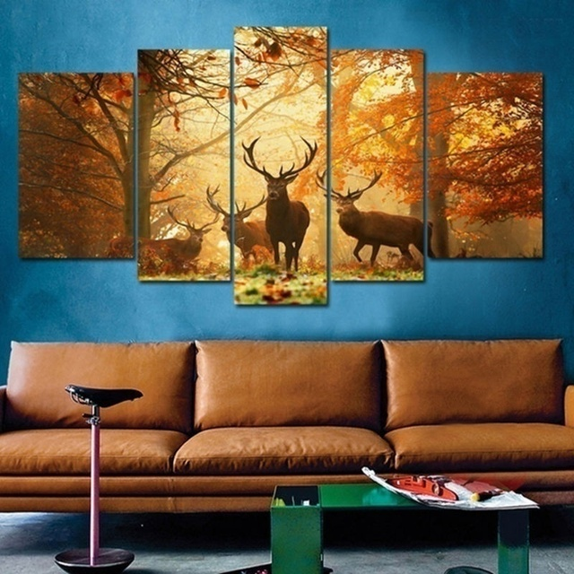 No Frame 5PCS Deer Wall Painting Modern Tree Canvas Art Animal Picture Home Decor