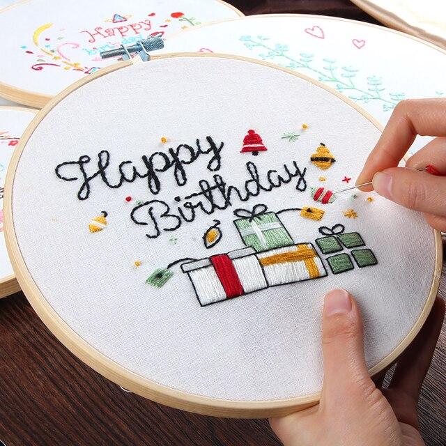 20x20cm Handmade Round Frame Cross Stitch Kit Happy Birthday Pattern ...
