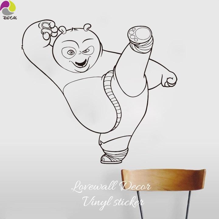 Kongfu panda стены Стикеры Мальчик номер карате панда Кикбоксинг бокс Наклейка на стену детская комната Спальня винил Домашний Декор Книги по ис...