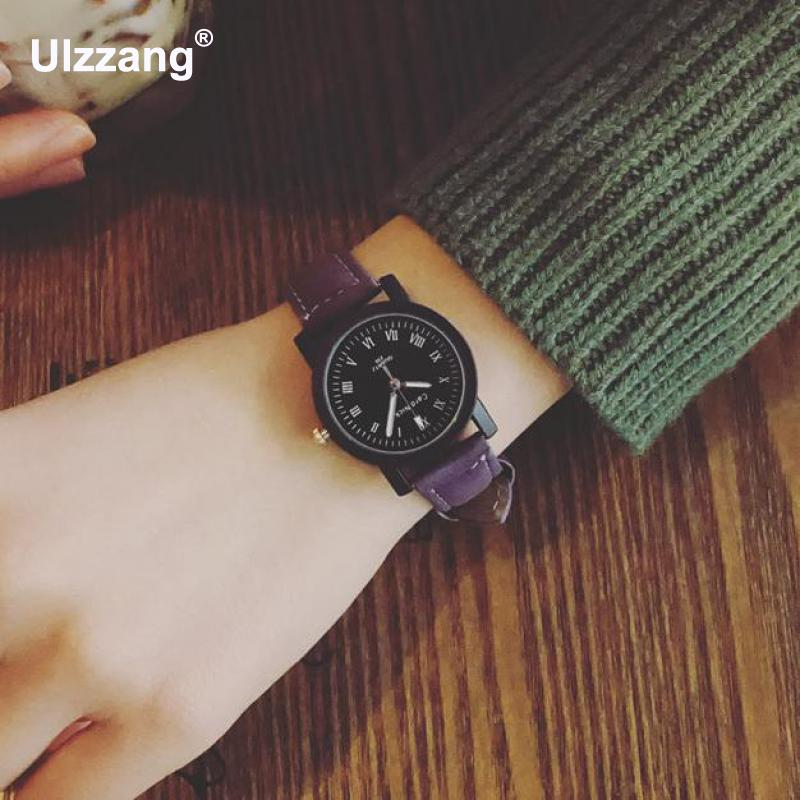 Fashion Small Vintage Leather Women Girls Students Quartz Wrist Watch Bracelet Wristwatches Black Blue Brown fashion vintage big number magic leather strap quartz analog wristwatches watch for women ladies girls black brown blue