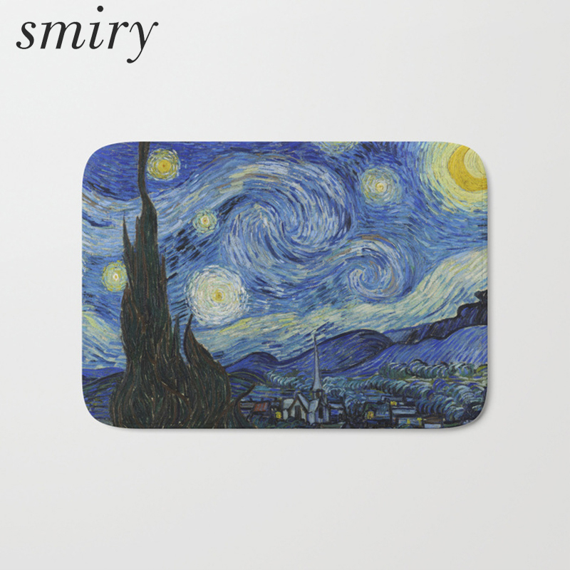 Smiry waterproof decoration stair rugs famous oil painting star moon evening carpet light flannel 40*60cm bedside foot pad craft