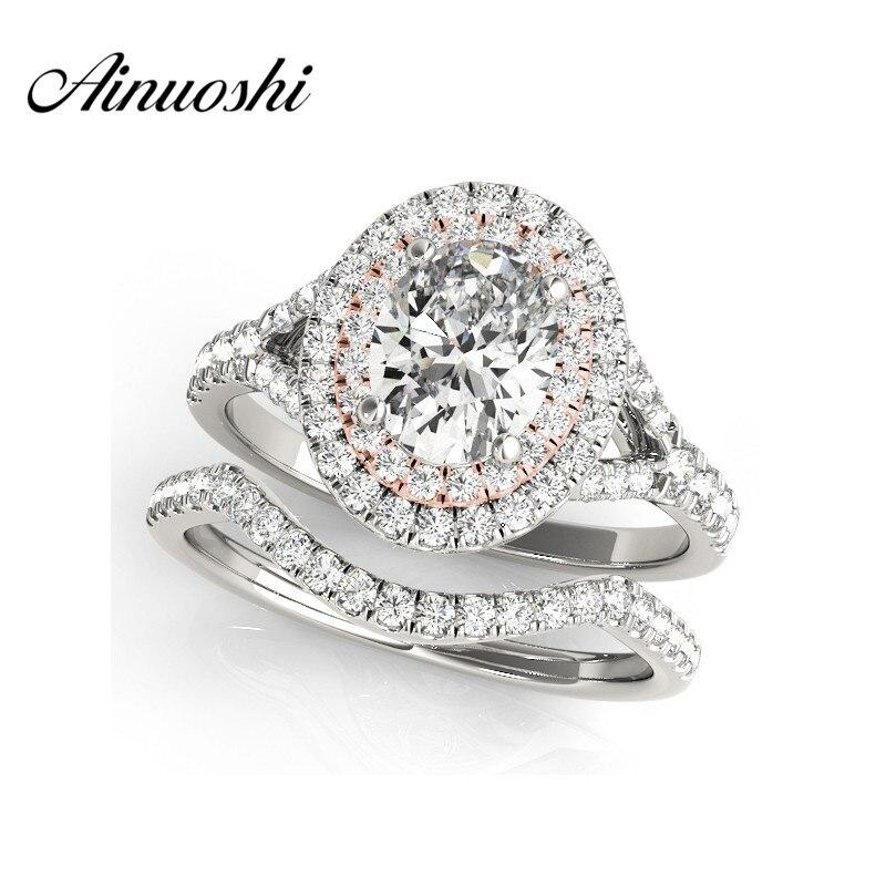 Здесь можно купить  AINUOSHI 925 Sterling Silver Rose Gold Color Lady Engagement Bridal Ring Sets 0.5 Carat Oval Cut Halo Bridal Ring Sets Jewelry  Ювелирные изделия и часы