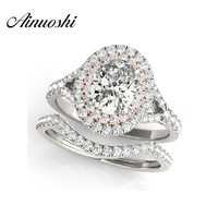 AINUOSHI 925 Sterling Silver Rose Gold Color Lady Engagement Bridal Ring Sets 0.5 Carat Oval Cut Halo Bridal Ring Sets Jewelry