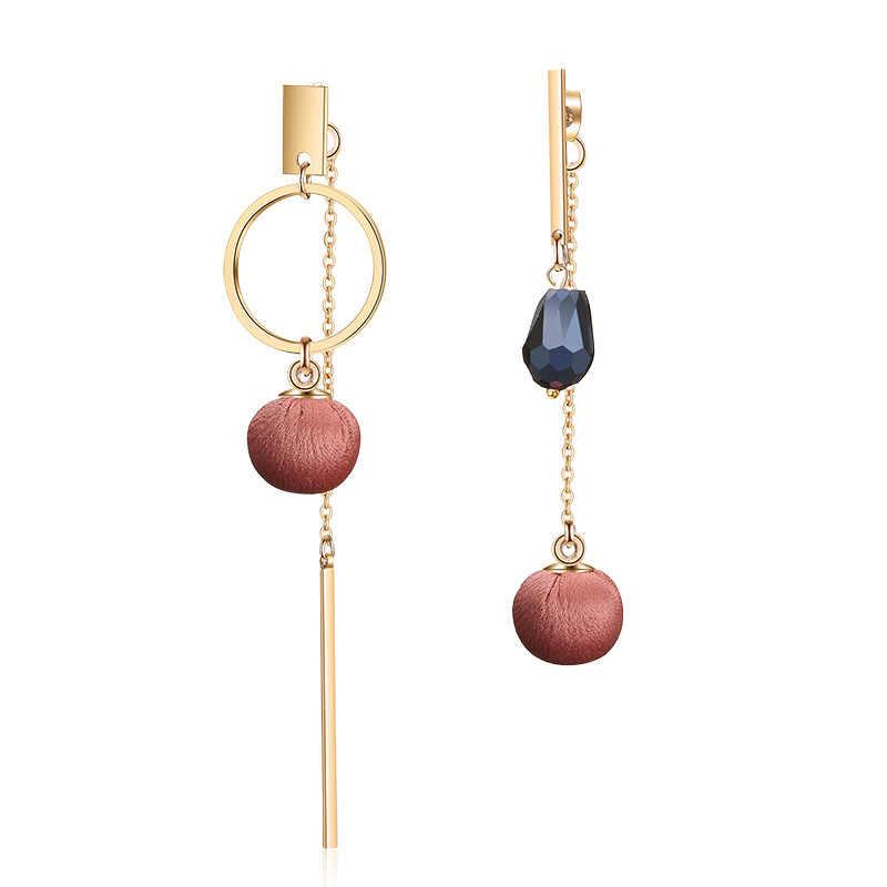 Purple Brown Red Cloth Ball Tassels earring for women Fashion Big Crystal Design Drop Earring  Jewelry 2019 oorbellen