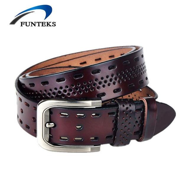 FUNTEKS 100% Genuine Leather Belts for Men Casual Hollow Designer Belt Men High Quality Male Strap Jeans Belt Ceinture Homme