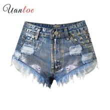 Pantalones cortos de moda para mujer 2019 Sexy de cintura alta Retro pantalones cortos de verano novedad Shorts Vintage remache rasgado pantalones cortos de mezclilla