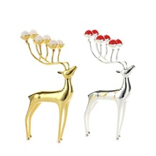 Luxurious Spotted Deer Candle Holders Stainless Steel With Free Candles