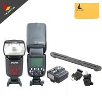 2x Godox TT685C E TTL II Camera Flash + X1C Flash Transmitter for Canon + Dual Flash Bracket + Camera Flash Hot Shoe Adapter