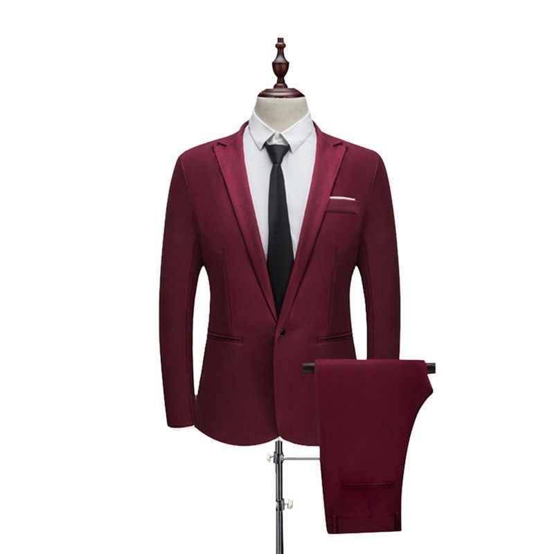 Trajes de boda de esmoquin para novio de Color puro de la sección fina de primavera y otoño de MJARTORIA (chaqueta + pantalón) casual Slim Fit 2 piezas