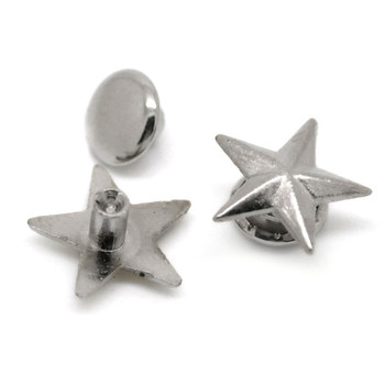 50Sets Silver Tone Punk Star Pentacle Spike Rivet Studs Spots Bag Shoes Clothes Crafts Findings 11x11mm(3/8x3/8) 7mm