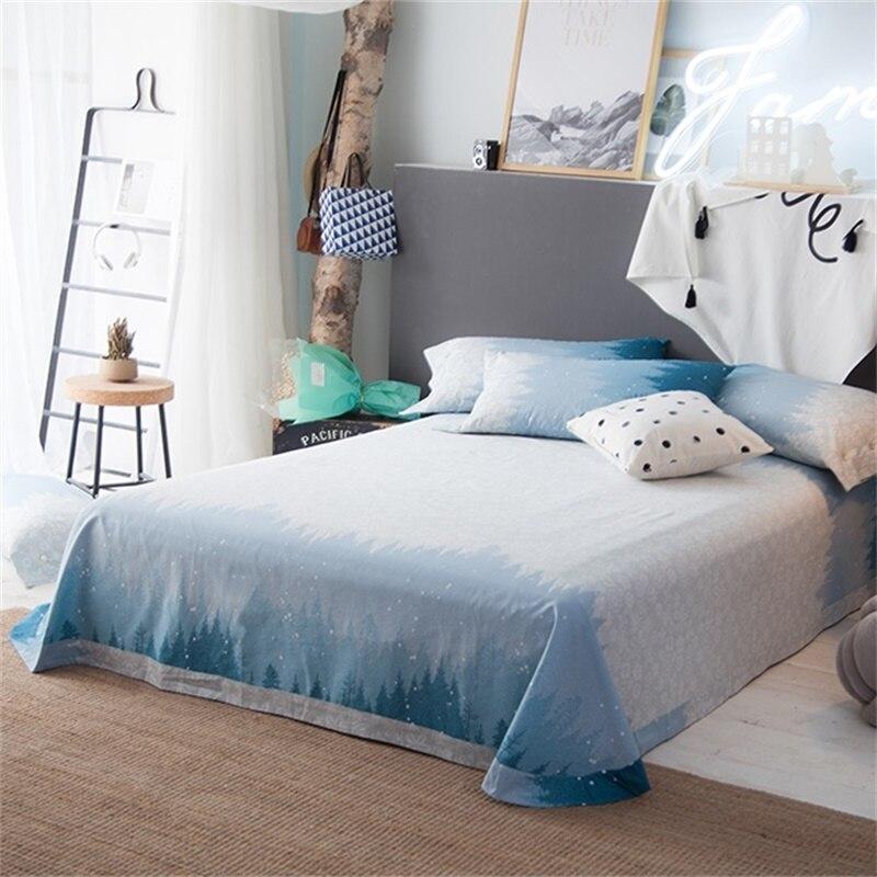 Ideal Deer Print Light Blue Bedding Sets Queen Size 100% Cotton Print  ZY86