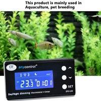 DTC 120 Digital Thermostat Temperature Controller for Aquarium Fish Tank Day Night Dimming Thermostat with Plug Socket Regulator