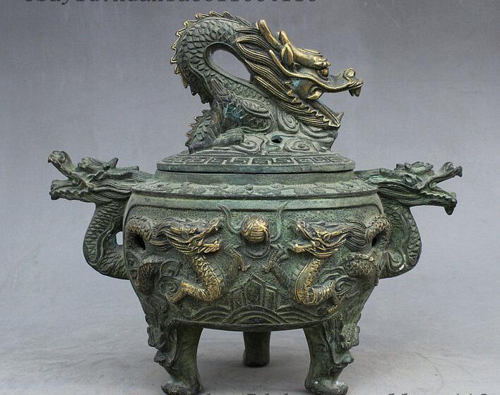 Collection China antique handmade Bronze gilt Chinese Zodiac dragon statue