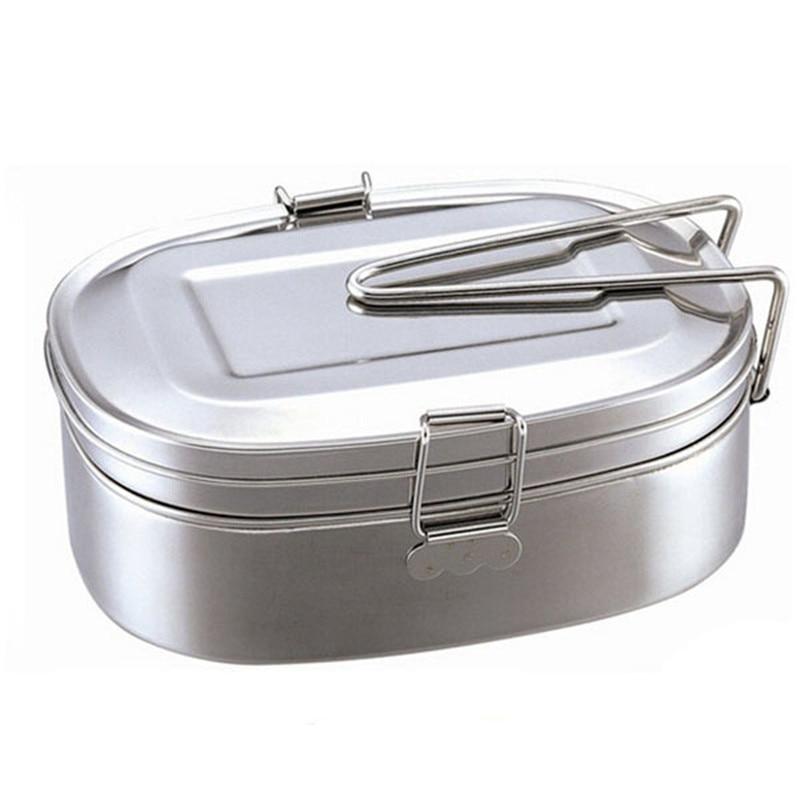 a73855f92ef1 Портативный 2 слои нержавеющая сталь еды контейнер для обеда Ужин еда  контейнер