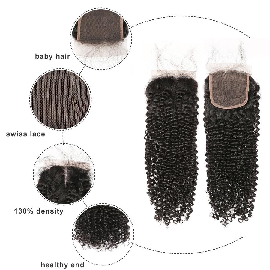 Gossip Hair Brazilian Remy Hair Weave Bundles Afro Kinky Curly Hair - Mänskligt hår (svart) - Foto 3