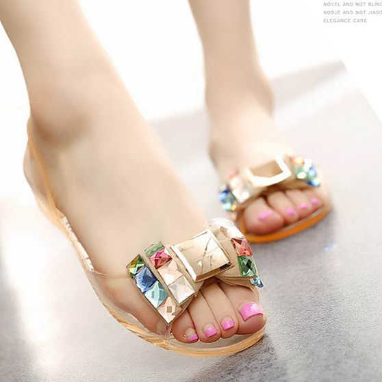 3ef8226875 women jelly sandals Ballet Flats bow colorful crystal rhinestone glitter  peep toe jelly shoes slip-on nude sandals beach shoes