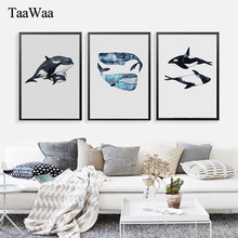 TAAWAA Watercolor Shark Dolphin Nordic Posters Wall Art Canvas Prints Fish Decorative Picture Painting Modern Home Decoration