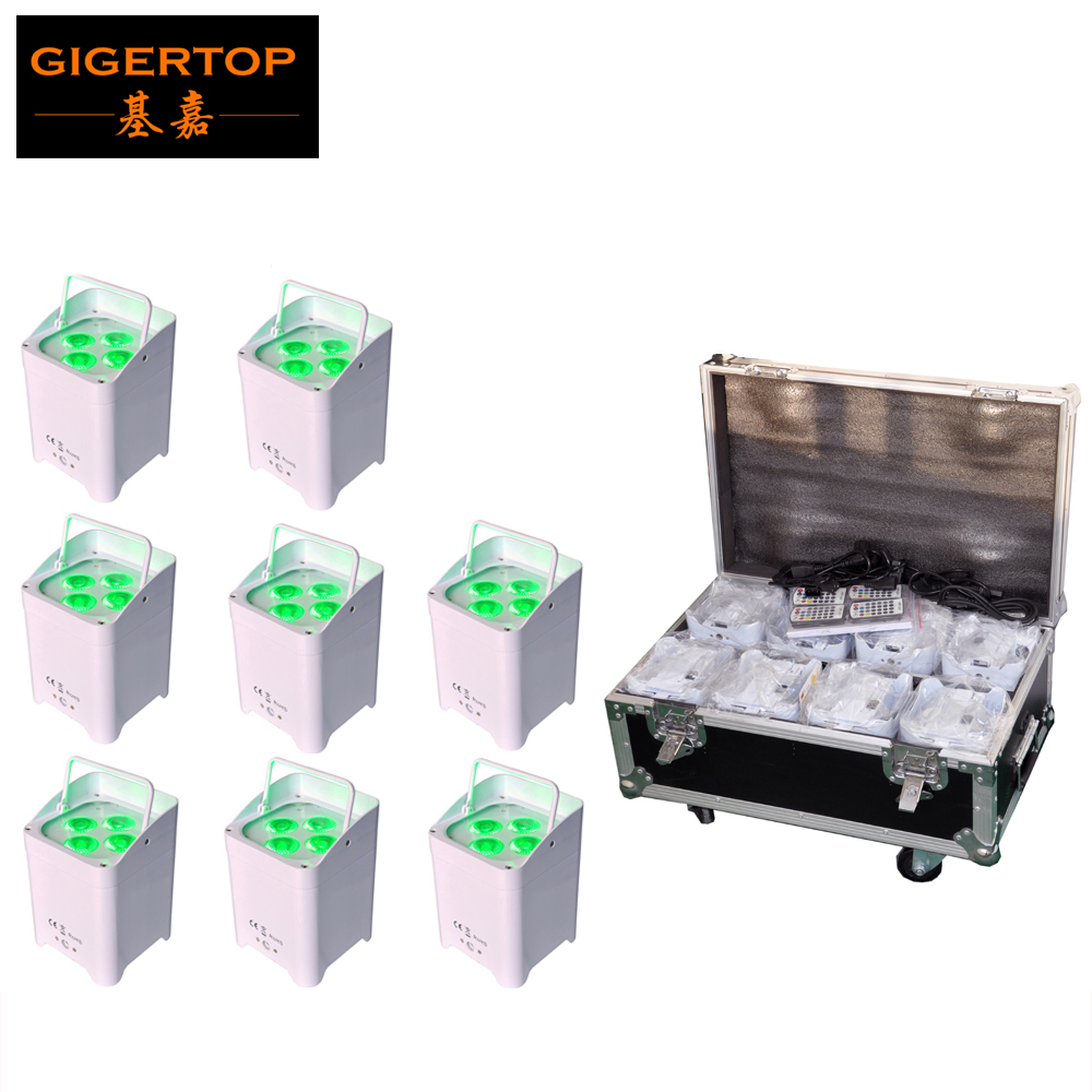Charging Flightcase Packing 4x6W White Case Battery Wireless Led Par Cans Black Case Optional with Carry Handle/Glare Shield freeshipping 10in1 charging flightcase packing 12 18w stage wireless battery flat led par light rgbaw uv 6in1 uplighting par can