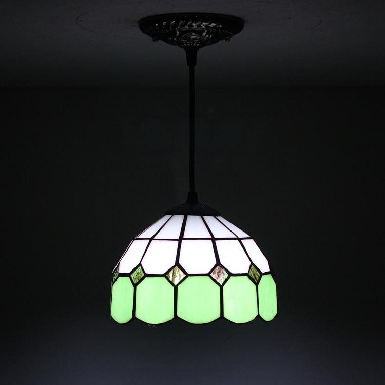 European green Mediterranean Restaurant Art lighting Bar terrace Stained glass decorate Pendant lamps E27 110-240V 8 inch 20CM