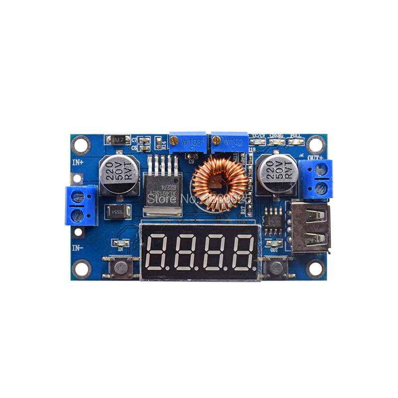 Adjustable 5A CC/CV Power Step-down Charge Module LED Driver W/ USB Voltmeter