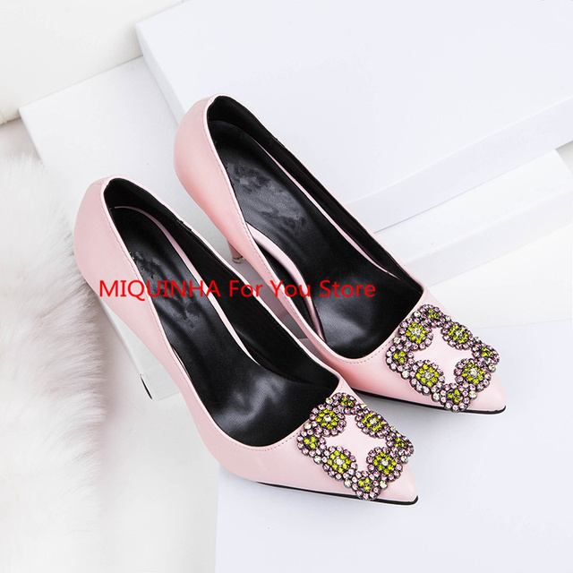 Pointed Toe Colorful Crystal Square Buckle Design Women Pump Luxury Brand  High Thin Heel Super Star Runway Wedding Shoe Stiletto 4f5f4f502eed