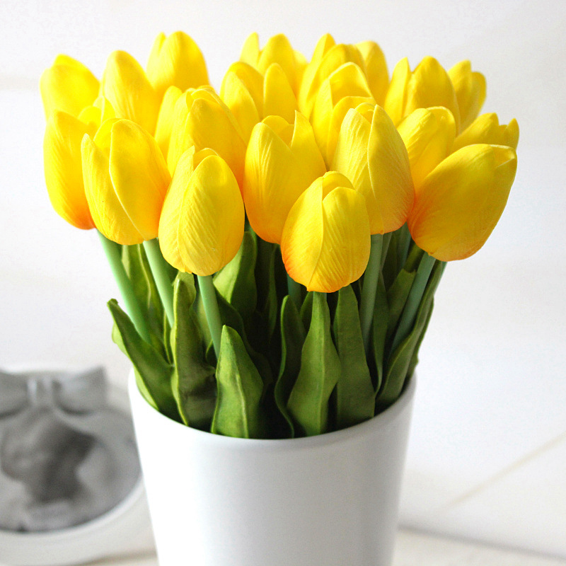 20 Pcs\/lot Tulip Artificial Flowers Wholesale Real Touch PU Artificial Bouquet Flowers For Home