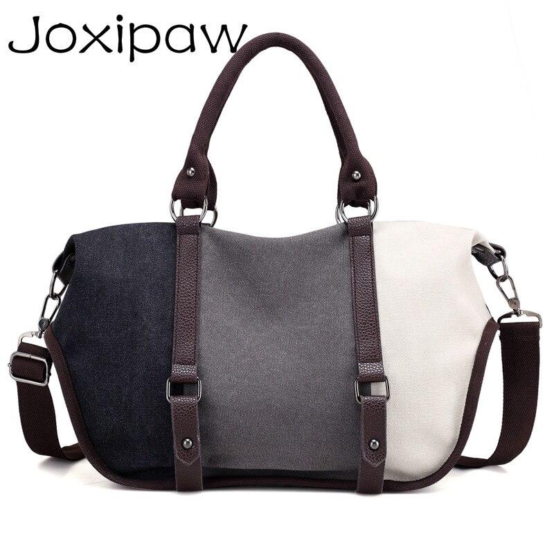 Block Canvas Hobos Crossbody Handbags er Lady Shoulder Bag Large Casual Tote Bolsas