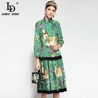 LD LINDA DELLA 2018 Fashion Runway Suit Set Women S Long Sleeve Vintage Floral Print Blouse